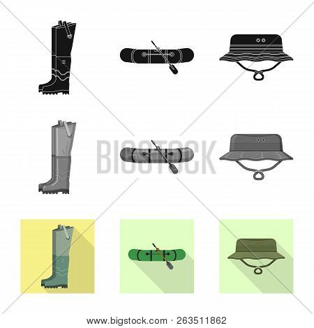Vector Design Of Fish And Fishing Symbol. Set Of Fish And Equipment Stock Vector Illustration.