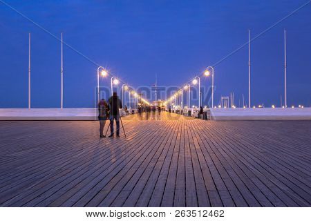 The Sopot pier by Baltic Sea pier at dusk, Poland