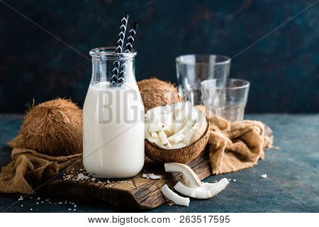 Fresh Coconut Milk In Glass Bottle, Vegan Non Dairy Healthy Drink