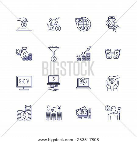 Finance Line Icon Set. Saving, Payment, Exchange. Money Concept. Can Be Used For Topics Like Finance