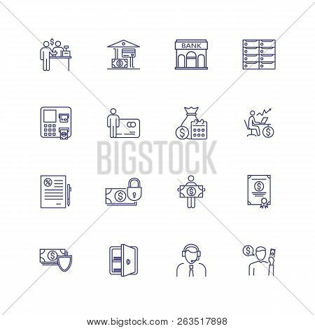 Finance Management Line Icon Set. Financier, Credit Card, Payment. Finance Concept. Can Be Used For