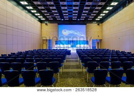 Moscow, Russia - March 27, 2018: Interior of conference hall during Blockchain congress