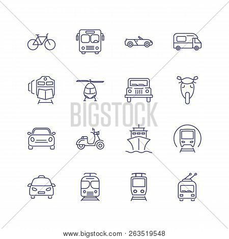 Transport Line Icon Set. Train, Ship, Helicopter. Transportation Concept. Can Be Used For Topics Lik