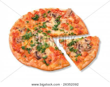 Pizza isolated on  white , Clipping paths
