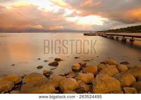 Dock At Villarrica Lake At Sunset, Araucania Region, Chile, South America