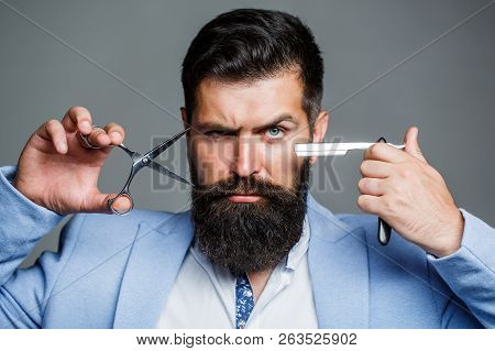 Beard Man, Bearded Male. Portrait Beard Man. Barber Scissors And Straight Razor, Barber Shop, Suit.