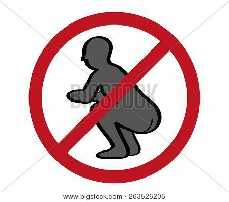 No Pooping Sign On White Background