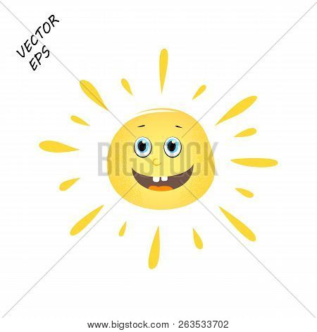 Laughing Vector Sun On Isolated Background. A Child's Drawing Of A Laughing Face. The Sun Is The Con