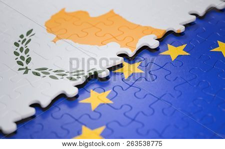 Flag Of The Cyprus And The European Union In The Form Of Puzzle Pieces In Concept Of Politics And Ec