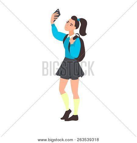 Young Woman Take Selfie. Teenager Blogging. Teen Student Takes A Photo Or Video On The Mobile Phone.