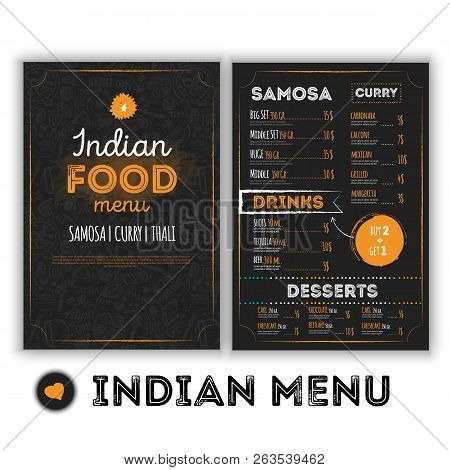 Indian Food Menu Template With Grunge Doodles In Hand Drawn Style. Oriental Culture Restaurant Illus