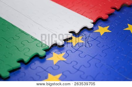 Flag Of The Hungary And The European Union In The Form Of Puzzle Pieces In Concept Of Politics And E