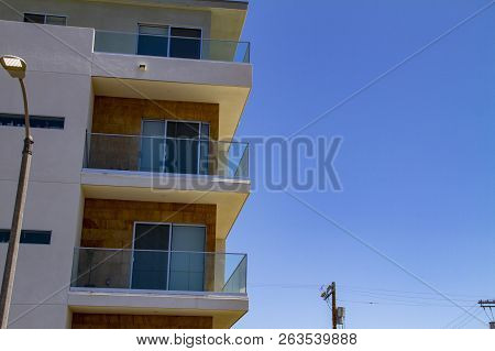 Building Facade With Balconies In Los Angeles