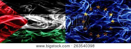 Palestine Vs European Union, Eu Smoke Flags Placed Side By Side. Thick Colored Silky Smoke Flags Of