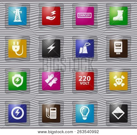 High Voltage Glass Icons Set For Web Sites And User Interface