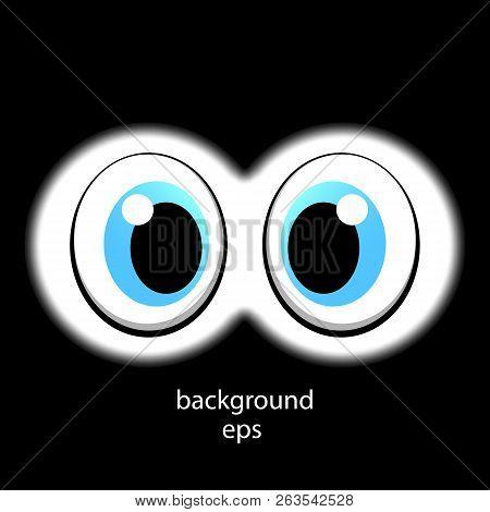 Looking Vector Eyes Through Binoculars. Watching The Sight. Cartoon Eyes. Vector Illustration For Yo