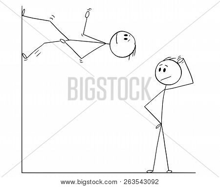 Cartoon Stick Drawing Conceptual Illustration Of Man Or Businessman Looking Confused On Another Man