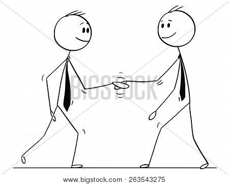 Cartoon Stick Drawing Conceptual Illustration Of Two Men Or Businessmen Shaking Hands Or Doing Hands