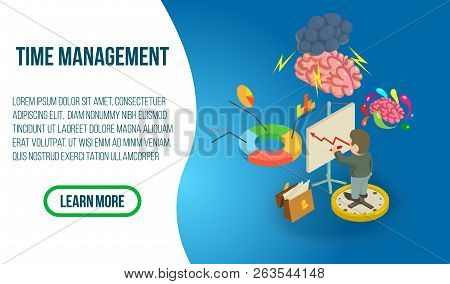 Time Management Concept Banner. Isometric Banner Of Time Management Vector Concept For Web, Giftcard