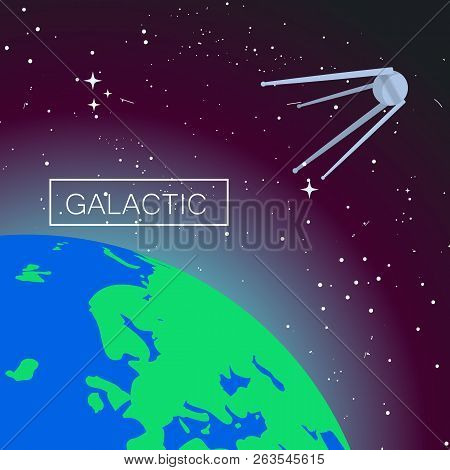 Galactic Space Concept Background. Flat Illustration Of Galactic Space Vector Concept Background For