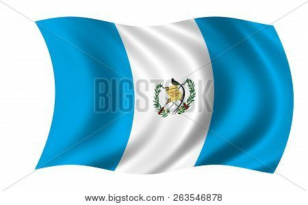 Waving Guatemala Flag In The Colors Blue And White