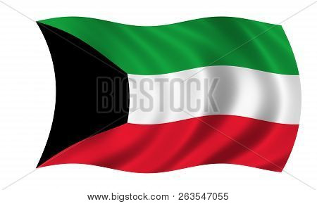 Waving Kuwait Flag In The Colors Green, Red, Black And White