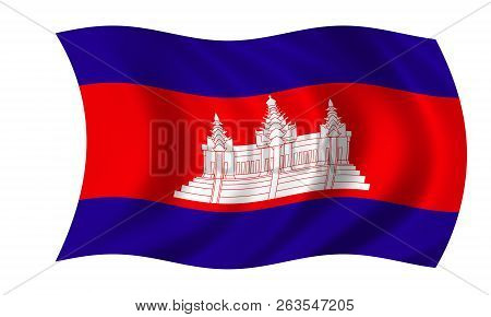 Waving Cambodian Flag In The Colors Blue,red And White