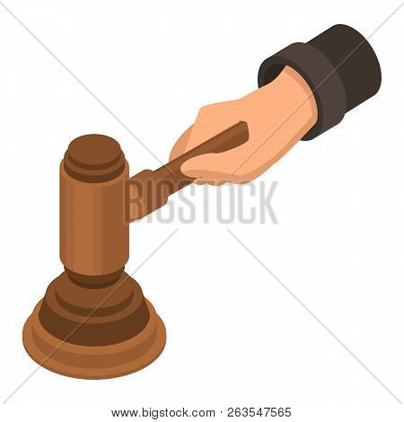 Judge Hammer Hand Icon. Isometric Of Judge Hammer Hand Vector Icon For Web Design Isolated On White