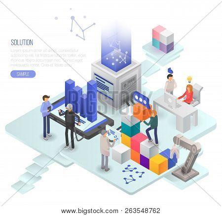 Solution Concept Background. Isometric Illustration Of Solution Vector Concept Background For Web De