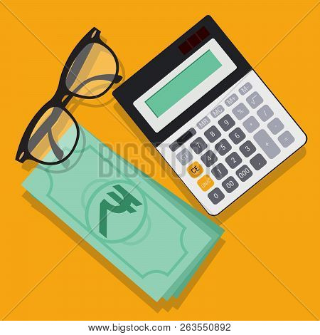 Flat Design Busines Workspace Abstract Background. Vector Concept With Glasses, Indian Ruppes And Ca