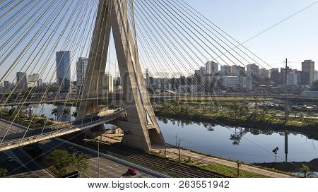 Famous Cable-stayed Bridge At Sao Paulo City. Brazil. Aerial View Of Octavio Frias De Oliveira Bridg