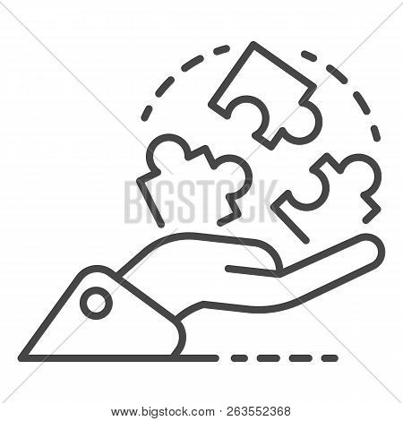Hand Hold Puzzle Solution Icon. Outline Hand Hold Puzzle Solution Vector Icon For Web Design Isolate
