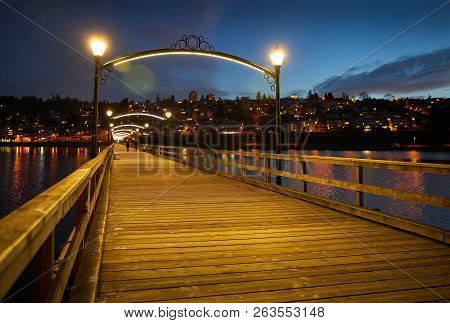 White Rock Pier Dawn, Bc. White Rock Pier, Bc. White Rock Is A Popular Tourist Destination On The We