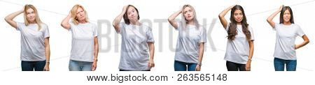 Collage of group of women wearing white t-shirt over isolated background confuse and wonder about question. Uncertain with doubt, thinking with hand on head. Pensive concept.