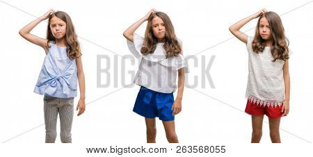 Collage of hispanic young child over isolated background confuse and wonder about question. Uncertain with doubt, thinking with hand on head. Pensive concept.