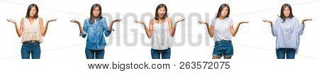 Collage of chinese asian woman over isolated background clueless and confused expression with arms and hands raised. Doubt concept.