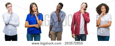 Collage of group of young asian, caucasian, african american people over isolated background with hand on chin thinking about question, pensive expression. Smiling with thoughtful face. Doubt concept.