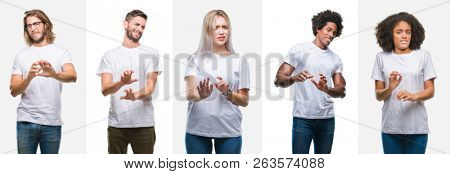 Collage of group of young people wearing white t-shirt over isolated background disgusted expression, displeased and fearful doing disgust face because aversion reaction. With hands raised. Annoying