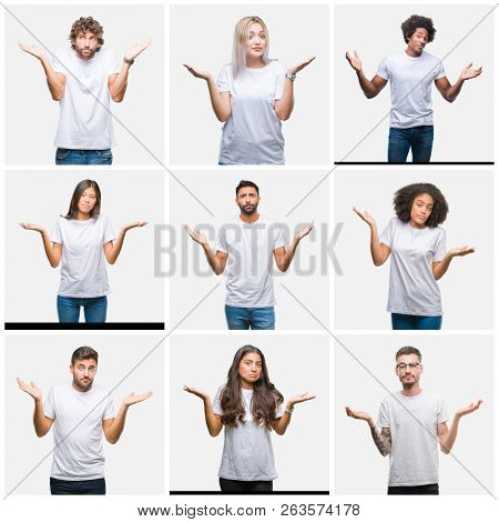 Collage of group of people wearing casual white t-shirt over isolated background clueless and confused expression with arms and hands raised. Doubt concept.