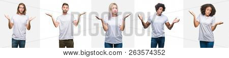 Collage of group of young people wearing white t-shirt over isolated background clueless and confused expression with arms and hands raised. Doubt concept.