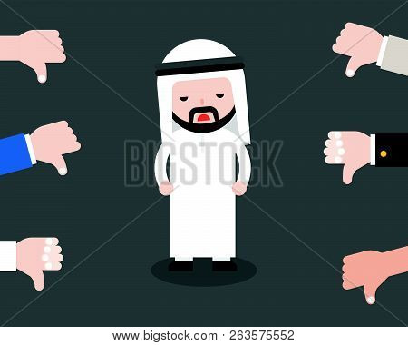 Cute Arab Business Man Sad Because People Thumbs Down On Him, Business Situation Failure Or Negative