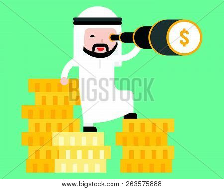 Arab Business Man Stands On Stack Of Gold Coin Using Monocular, Flat Design