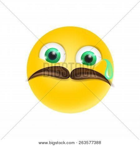 Crying Emoji With Mustache Emoticon Sad Reaction Vector