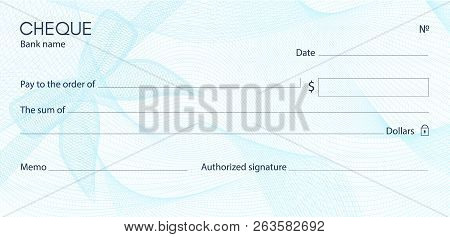 Check, Cheque (chequebook Template). Guilloche Pattern With Blue Bow Watermark. Background Hi Detail