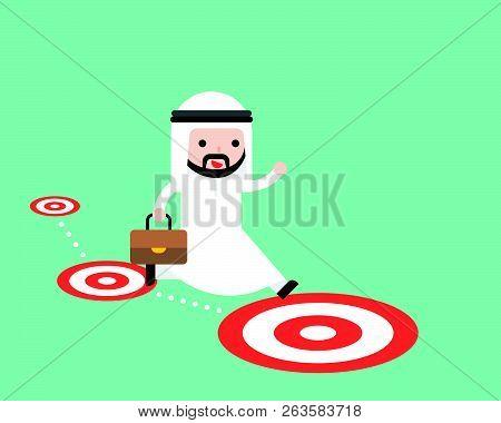Arab Saudi Businessman Jumping Follow The Target Path, Think Bigger Dream And Goal Concept, Flat Des
