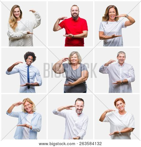 Collage of group of young, middle age and senior people over isolated background gesturing with hands showing big and large size sign, measure symbol. Smiling looking at the camera. Measuring concept.