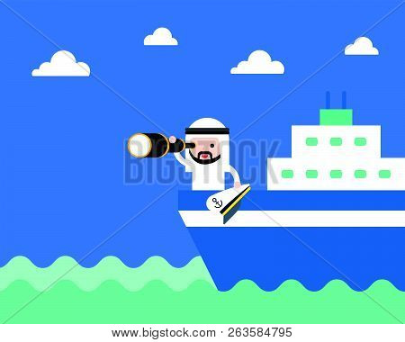 Cute Arab Saudi Businessman With Monocular On Ship In The Sea, Searching Or Vision Of Leader Concept