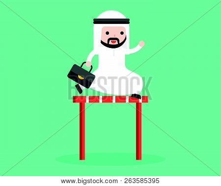 Cute Arab Businessman Jump Cross Over Hurdles Illustration, Flat Design Business Situation Overcome
