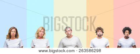 Collage of group of young and middle age people wearing white t-shirt over color isolated background puffing cheeks with funny face. Mouth inflated with air, crazy expression.