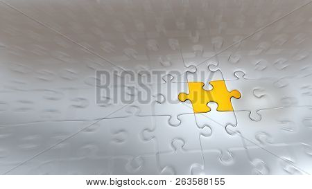 3d Illustration Of Zoom Effect On One Gold Puzzle Piece Inside All Other Silver Pieces